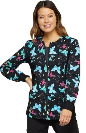 Fashion Prints by Cherokee Women's Zip Front Knit Panel Butterfly Print Scrub Jacket