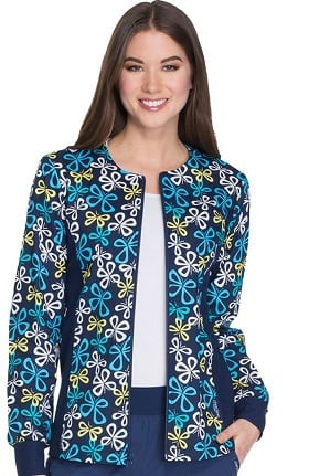 Cherokee Women's Zip Up Side Panel Butterfly Print Scrub Jacket