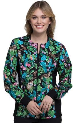 Fashion Prints by Cherokee Women's Zip Front Knit Panel Floral Print Scrub Jacket