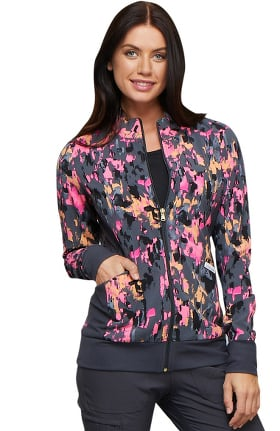 Fashion Prints by Cherokee Women's Zip Front Abstract Print Scrub Jacket