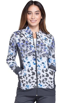 Cherokee Women's Zip Front Warm-Up Animal Print Scrub Jacket