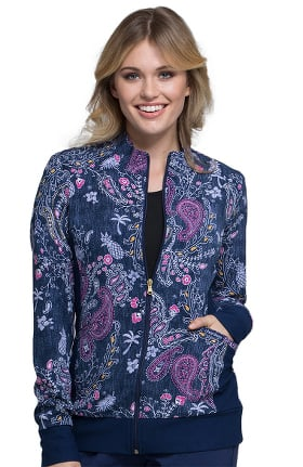 Fashion Prints by Cherokee Women's Zip Front Warm-Up Floral Print Scrub Jacket