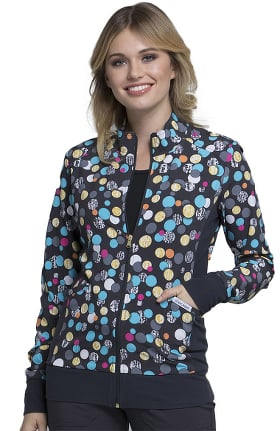 Fashion Prints by Cherokee Women's Zip Front Warm-Up Polka Dot Print Scrub Jacket