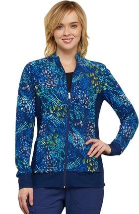 Fashion Prints by Cherokee Women's Zip Front Dot Print Scrub Jacket