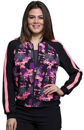 Infinity by Cherokee Women's Zip Front Warm-Up Abstract Print Scrub Jacket