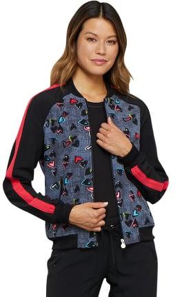 Infinity by Cherokee Women's Zip Front Heart Print Scrub Jacket