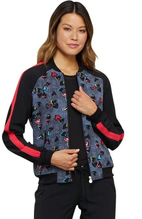 Clearance Infinity by Cherokee Women's Zip Front Heart Print Scrub Jacket