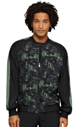 Infinity by Cherokee Men's Zip Front Abstract Print Scrub Jacket