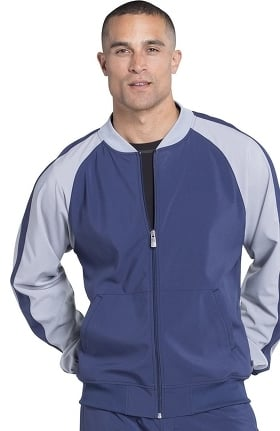 Infinity by Cherokee Men's Zip Front Colorblock Warm-Up Solid Scrub Jacket