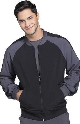 Clearance Infinity by Cherokee Men's Zip Front Colorblock Warm-Up Solid Scrub Jacket