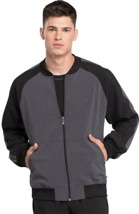 Infinity by Cherokee Men's Colorblock Zip Front Bomber Solid Scrub Jacket