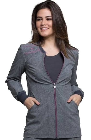 772b8bbf98f Clearance Infinity by Cherokee Women's Zip Front Warm-Up Solid Scrub Jacket
