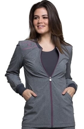 Clearance Infinity by Cherokee Women's Zip Front Warm-Up Solid Scrub Jacket