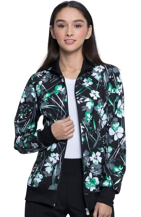 Clearance Infinity by Cherokee Women's Botanical Gestures Print Scrub Jacket
