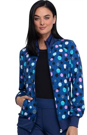 Infinity by Cherokee Women's Poppin' Polka Dots Navy Print Scrub Jacket