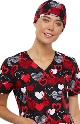Fashion Prints by Cherokee Unisex Heart Print Scrub Hat