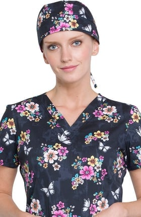 Fashion Prints by Cherokee Women's Bouffant Butterfly Print Scrub Hat