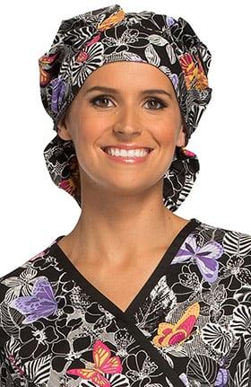 Cherokee Women's Bouffant Butterfly Print Scrub Hat