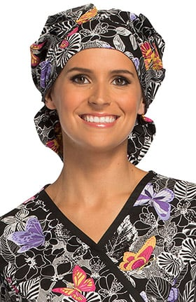 Cherokee Unisex Bouffant Butterfly Print Scrub Hat