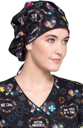 Cherokee Unisex Bouffant Autism Awareness Print Scrub Hat