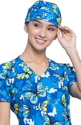 Fashion Prints by Cherokee Unisex Flutterly Amazing Print Scrub Hat