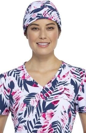 Fashion Prints by Cherokee Unisex Palms And Posies Print Scrub Hat