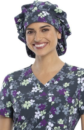 Fashion Prints by Cherokee Unisex Lovely Lines Bouffant Print Scrub Hat