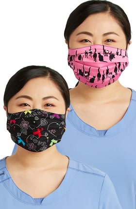 Cherokee Women's Reversible A Hopeful Hearts & Mr. Purr-fect Print Face Mask