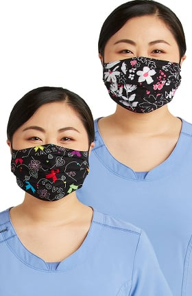 Cherokee Women's Reversible Hopeful Hearts & Bloom-tanical Print Face Mask