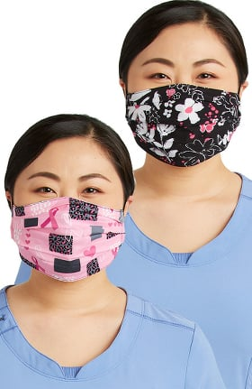 Cherokee Women's Reversible Wild For A Cure & Bloom-tanical Print Face Mask