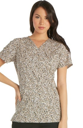 Clearance Cherokee Women's Mock Wrap Animal Print Scrub Top