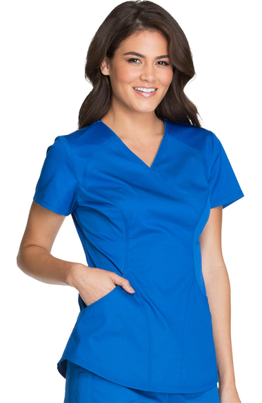Luxe Sport By Cherokee Women S Mock Wrap Solid Scrub Top