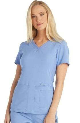 iflex™ by Cherokee Women's V-Neck Knit Panel Solid Scrub Top