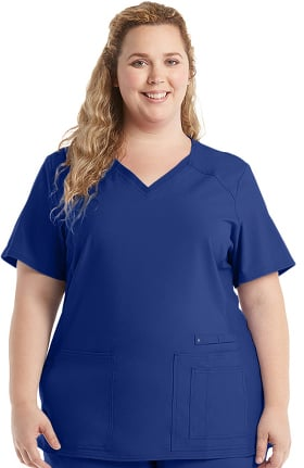 iflex by Cherokee Women's V-Neck Knit Panel Solid Scrub Top