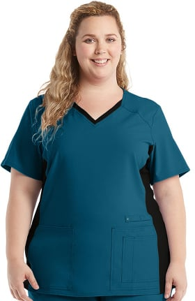 Clearance iflex™ by Cherokee Women's V-Neck Knit Panel Solid Scrub Top