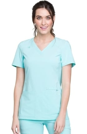 Clearance iflex by Cherokee Women's V-Neck Knit Panel Solid Scrub Top