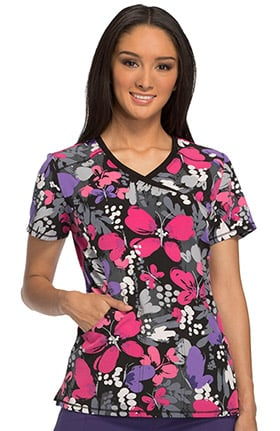 Fashion Prints by Cherokee Women's Mock Wrap Butterfly Print Scrub Top