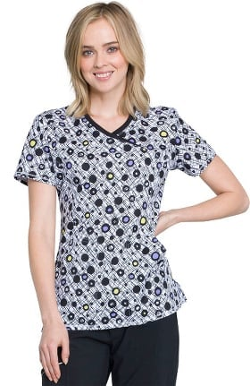 Infinity by Cherokee Women's Mock Wrap Geometric Print Scrub Top