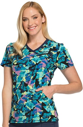 Fashion Prints by Cherokee Women's Mock Wrap Abstract Print Scrub Top