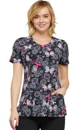 Clearance Infinity by Cherokee Women's Round Neck Butterfly Print Scrub Top