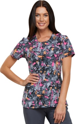 Clearance Infinity by Cherokee Women's Round Neck Floral Print Scrub Top