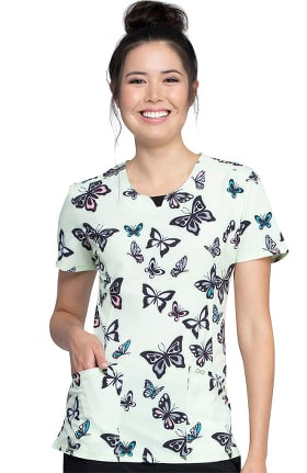 Clearance Infinity by Cherokee Women's Let's Fly Print Scrub Top
