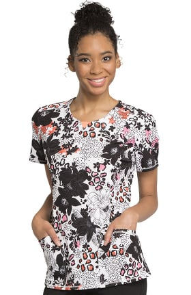 Infinity by Cherokee Women's Round Neck Floral Print Scrub Top