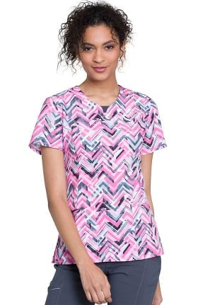 Infinity by Cherokee Women's Round Neck Geometric Print Scrub Top