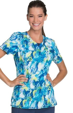 Infinity by Cherokee Women's Round Neck Abstract Print Scrub Top