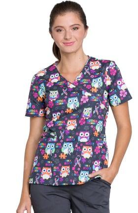 Fashion Prints by Cherokee Women's Mock Wrap Owl Print Scrub Top