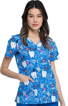 Clearance Fashion Prints by Cherokee Women's Bring The Sparkle Print Scrub Top