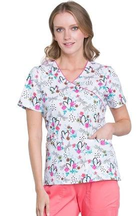 Clearance Fashion Prints by Cherokee Women's Mock Wrap Floral Print Scrub Top