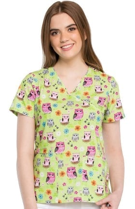 Clearance Fashion Prints by Cherokee Women's Mock Wrap Owl Print Scrub Top
