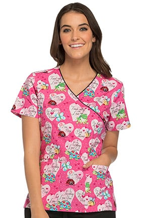 Cherokee Women's Mock Wrap Turtle Print Scrub Top